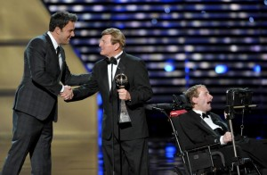 Ben Affleck presents Dick and Rick Hoyt with the Jimmy V Perseverance Award at the ESPYS, July 2013 JOHN SHEARER/INVISION/AP