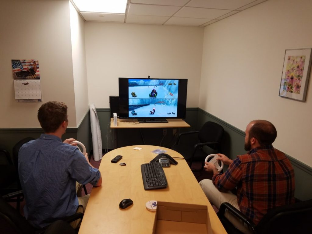 The Portland, Maine office settled in for some Wii racing