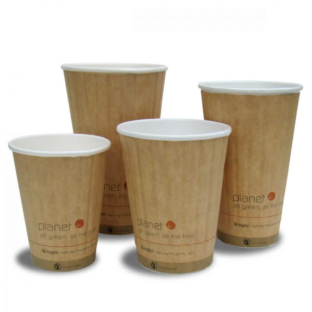 """four sizes of compostable cups that say """"all green. all the time."""""""
