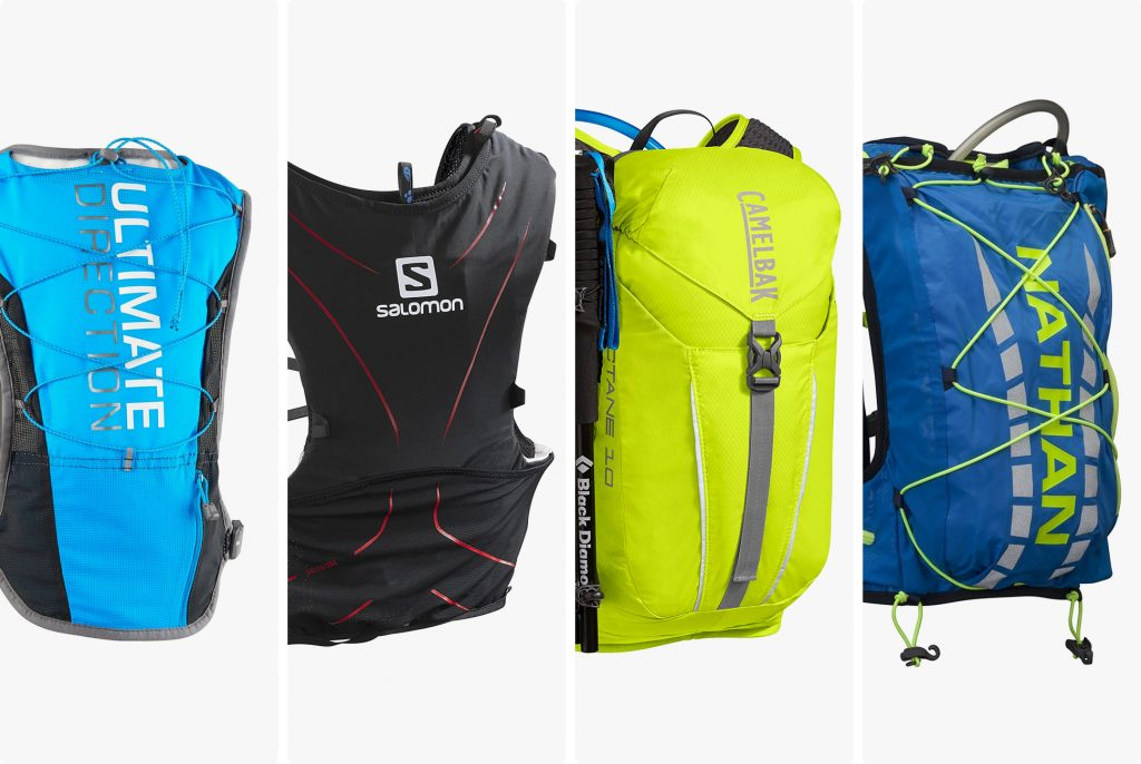 four different types of hydration packs that runners can use to drink water while they run