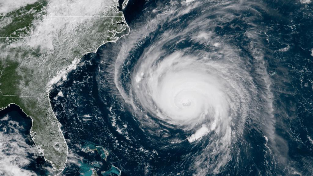 satellite view of hurricane heading toward the east coast of USA