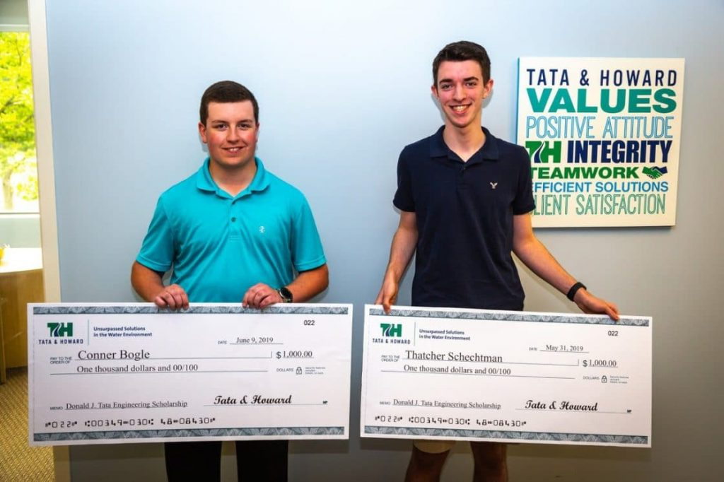 two recipients of Donald J. Tata Engineering Scholarship, Conner Bogle and Thatcher Schetchman