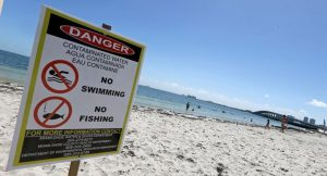 photo of beach with sign warning swimmers not to swim in contaminated water