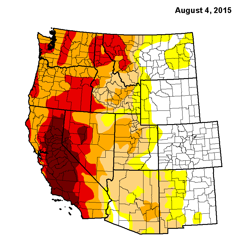 Usgs Drought Monitor Week Of 8 4 15