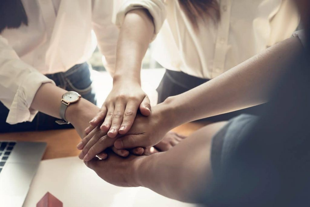 hands together for employee engagement