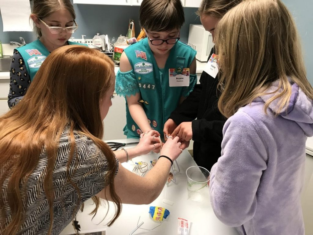 tata and howrad employees introduce young girl scouts to engineering
